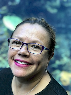 Dr. Lorraine Celis at the Atlanta Aquarium.